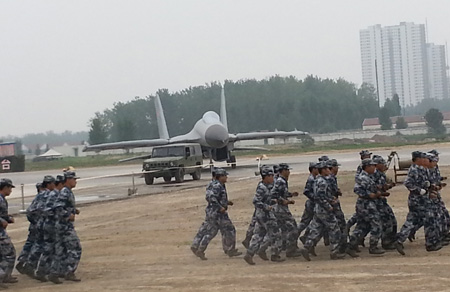 A military Exercise of People's Liberation Army Air Force Uses Beta Three TLA